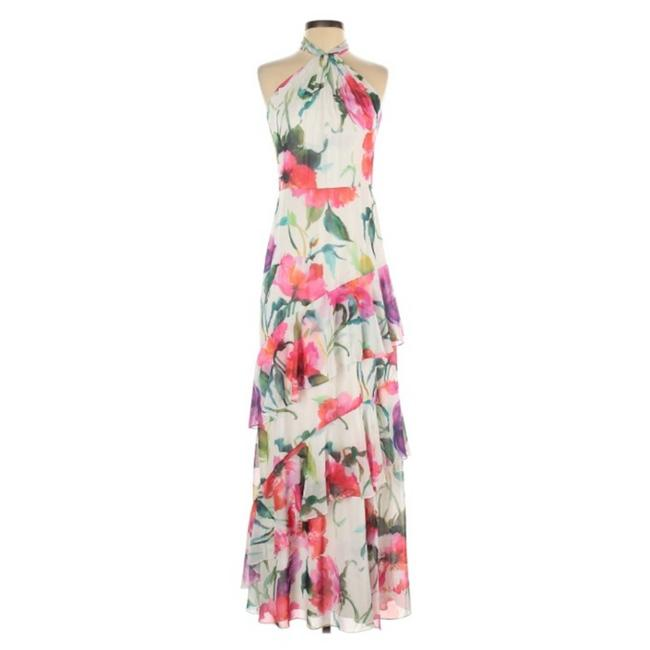 Item - Floral Halter Tiered Maxi Ruffle Bhldn Cocktail Dress Size 2 (XS)