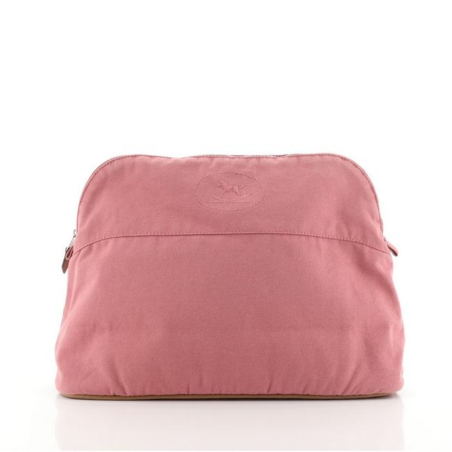 Hermès Pink Bolide Travel Pouch Canvas Gm Cosmetic Bag Hermès Pink Bolide Travel Pouch Canvas Gm Cosmetic Bag Image 1