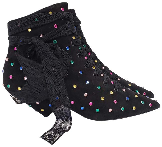 Item - Black Blaze 45 Crystals Leather Suede Ankle Boots/Booties Size EU 37 (Approx. US 7) Regular (M, B)