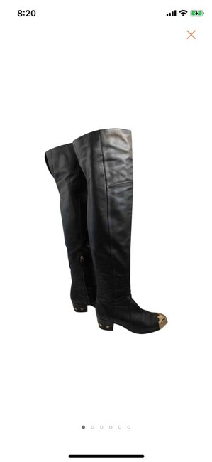 Item - Black Cc Logo Leather Over Knee Boots/Booties Size US 8.5 Regular (M, B)
