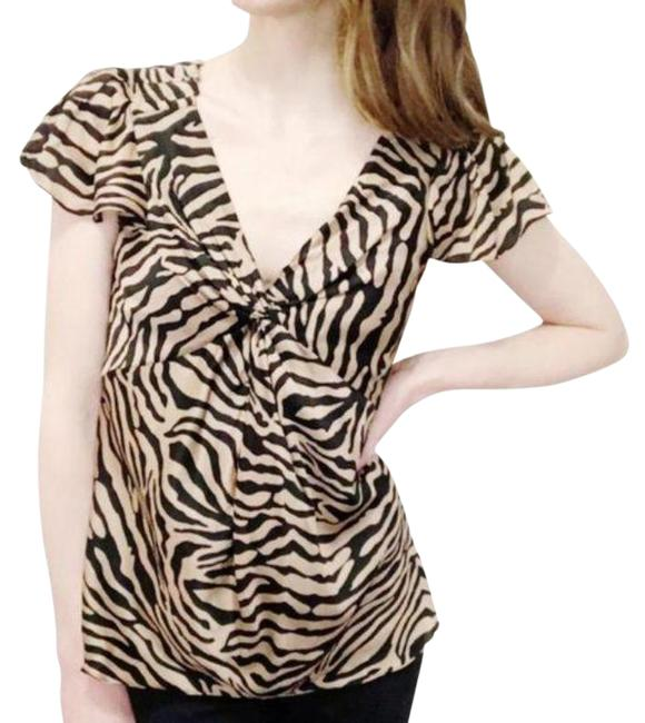 Item - Tan Black Copper Zebra Striped By Blouse Size 4 (S)