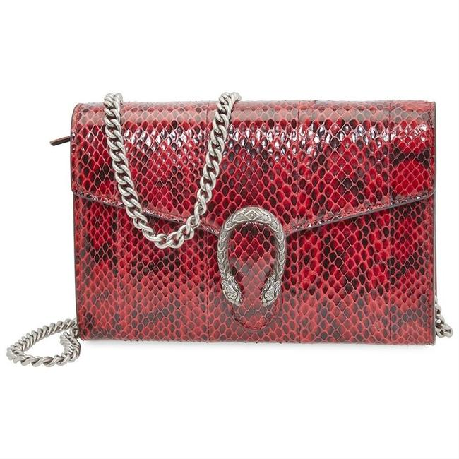 Item - Dionysus New Snakeskin Python Chain Wallet Purse Red Leather Cross Body Bag
