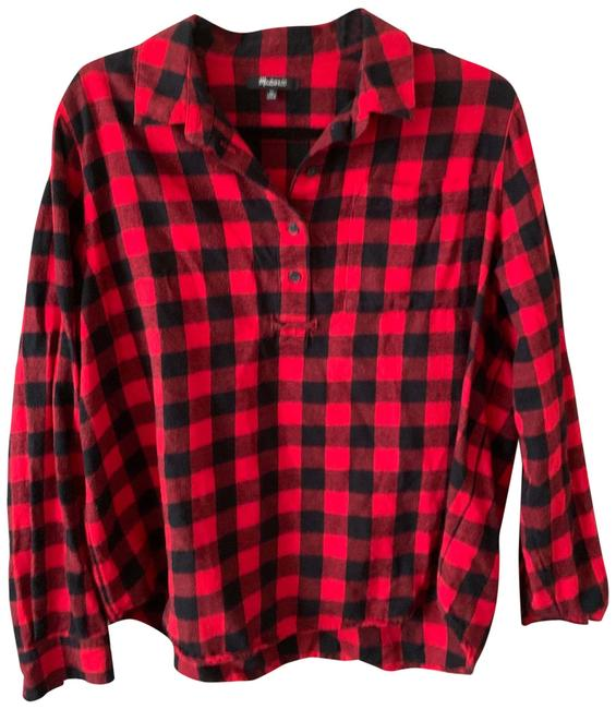 Item - Red/Black Plaid Button-down Top Size 16 (XL, Plus 0x)