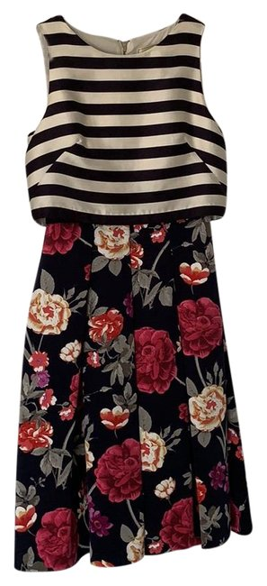 Item - Navy/Floral Anthropologie Mid-length Cocktail Dress Size 2 (XS)