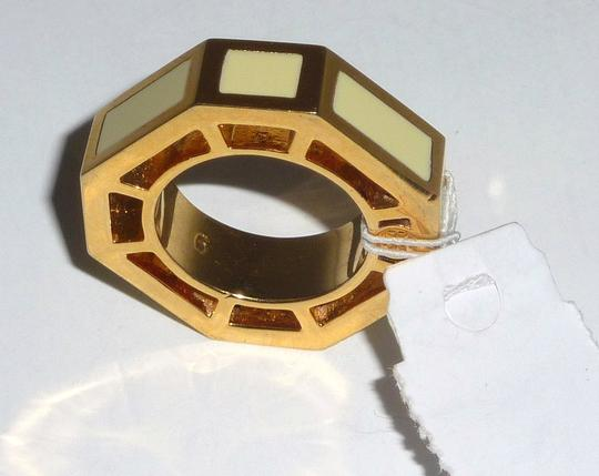 Tory Burch NWT TORY BURCH Octagon Rylan Gold/Ivory Cocktail Ring Size 6