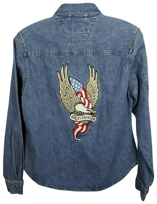 Item - Blue XS Jean Eagle Embroidered Patch Jacket Size 2 (XS)