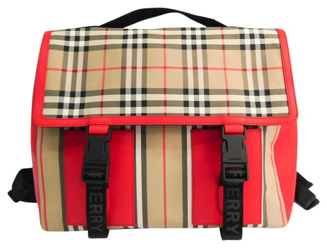 Item - Check Stripe Satchel 8014353 Unisex Beige / Black / Cream / Red Color Leather / Nylon Canvas Backpack
