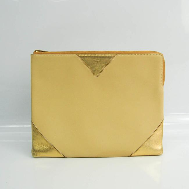 Item - Case Unisex Gold / Yellow Leather Clutch