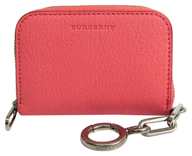 Item - Bordeaux / Pink Card Case with Key Ring Women's Leather Coin Purse/Coin Case Wallet