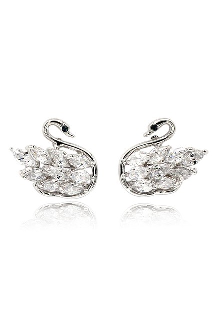 Item - Silver Inlaid Crystal Swan Earrings