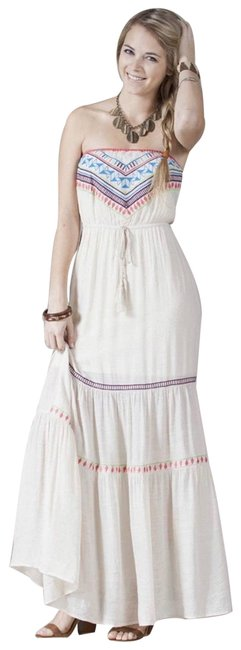 Item - Ivory Embroidered Boho Strapless Maxi New Nordstrom M Maternity Dress Size 8 (M, 29)