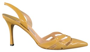 Manolo Blahnik Cage Patent Patent Leather Slingback Stiletto Tan Pumps