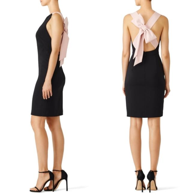 Item - Black and Pink Candy Chunky Bow Criss Cross Sheath Short Cocktail Dress Size 16 (XL, Plus 0x)