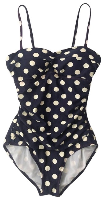 Item - Blue Navy Polka Dot Convertible One-piece Bathing Suit Size 4 (S)