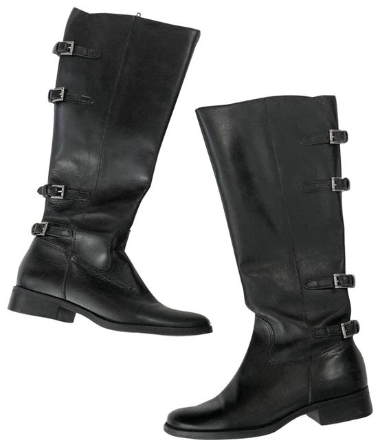 Item - Black Leather Buckle Knee High Boots/Booties Size US 5.5 Regular (M, B)