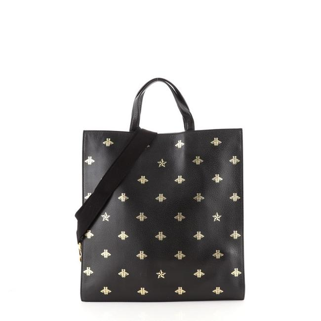 Item - Open Convertible Soft Tall Black Gold Print Leather Tote