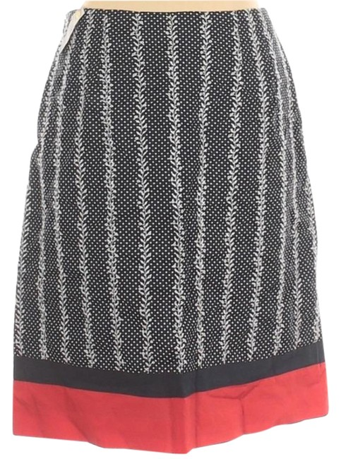 Item - Blue Red Floral Dot A Line 4p Skirt Size Petite 4 (S)