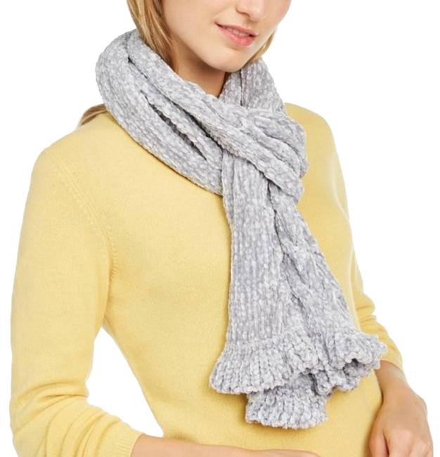 Item - Grey Cable Ruffle Chenille Muffler Scarf/Wrap