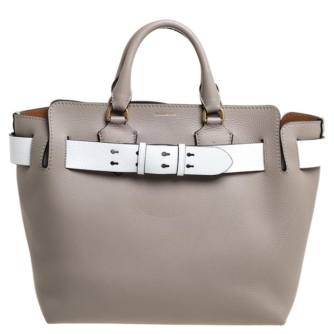 Item - Grey Grey/White Grained Leather Large Belted Tote Belt