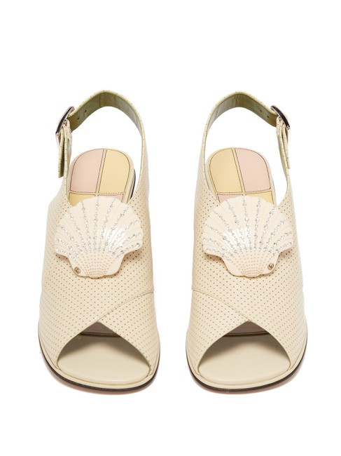 Item - Off-white Runway Shell-embellished Leather Sandals It 37 Pumps Size EU 40.5 (Approx. US 10.5) Regular (M, B)