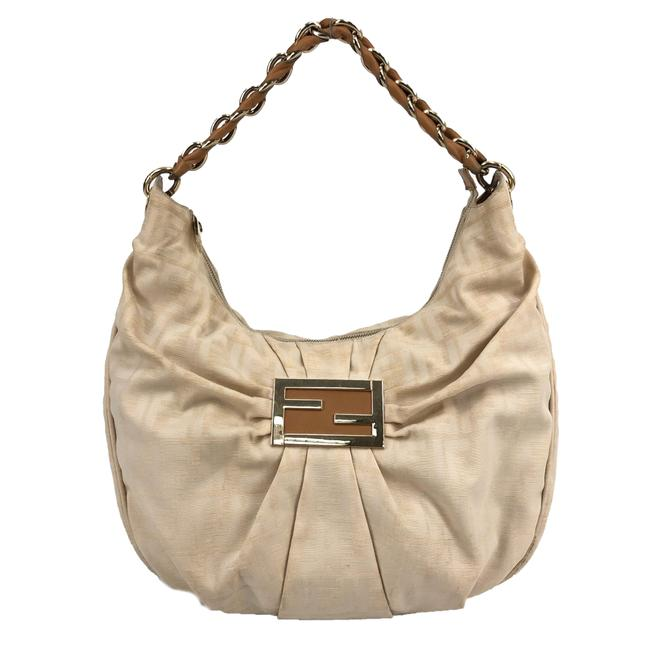 Item - W Womens Ff Zucca Monogram Handbag / Logo Beige Canvas Hobo Bag