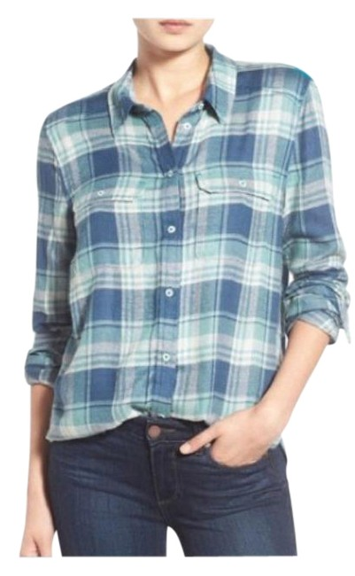 Item - Blue Trudy Plaid Shirt In Teal Trellis Button-down Top Size 4 (S)