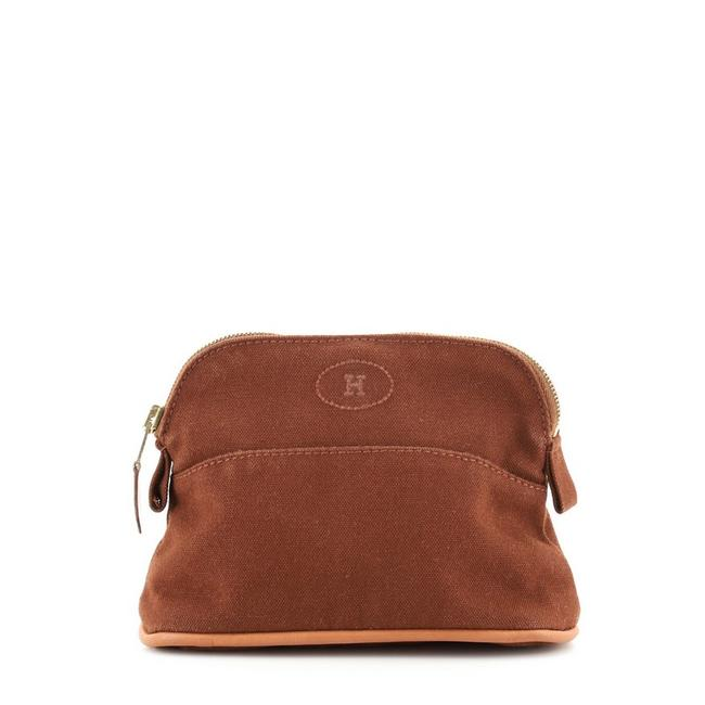 Item - Brown Bolide Travel Pouch Ottoman Canvas Mini Cosmetic Bag