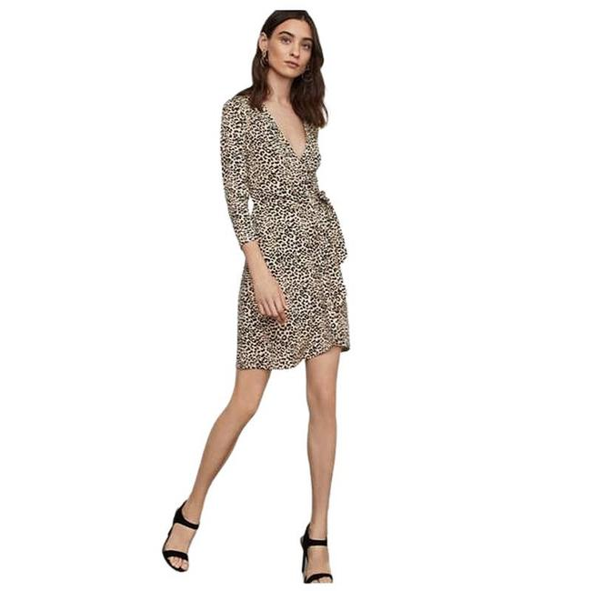 Item - Brown Cheetah Wrap Large Short Night Out Dress Size 12 (L)