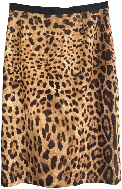 Item - Brown Tan Dolce & Gabbana Leopard Print Cotton Blend Straight/Pencil Skirt Size 4 (S, 27)