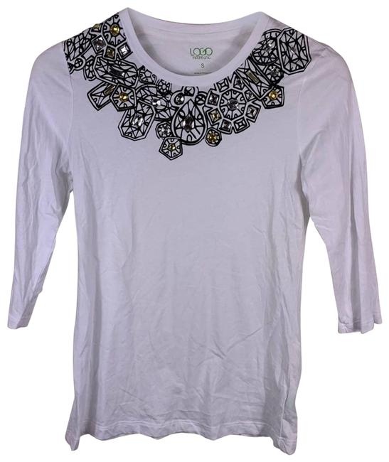 Item - White Graphic Necklace Tee Small Blouse Size 4 (S)