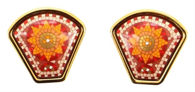 Item - Gold Vintage Clip-on Printed Enamel and Metal Earrings