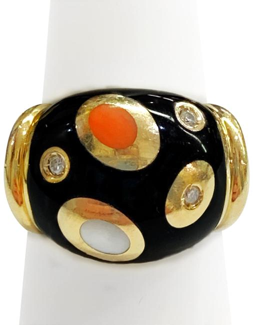 Item - Vintage 14 Karat Yellow Gold Diamond Black Onyx Coral and Mother Of Pearl Ring