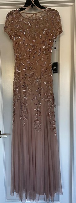 Item - Rose Gold Polyester Floral Beaded Godet Gown Feminine Bridesmaid/Mob Dress Size 2 (XS)