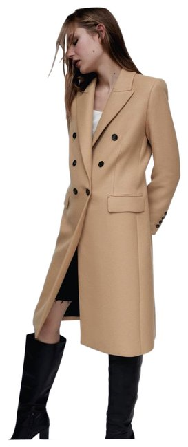 Item - Tan Cream Brown XL Double-breasted Coat Size 14 (L)