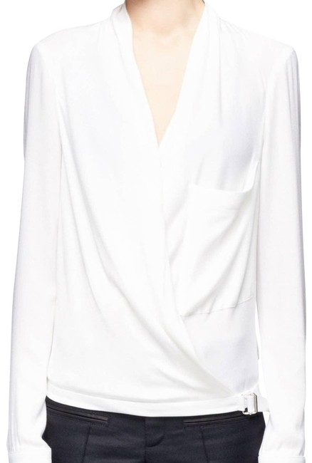 Item - White Leather Trim Blouse Size 4 (S)