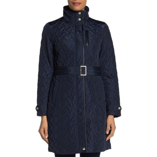 Item - Navy Zip Front Quilted Belted Jacket Size 12 (L)