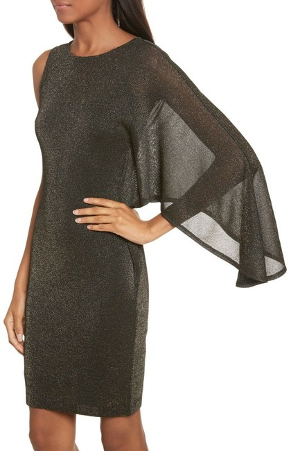 Item - Black Monyca Draped One Shoulder Sparkly Mid-length Cocktail Dress Size 4 (S)