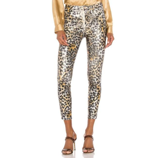 Item - Black/Gold/White Coated Margot High Rise In Leopard Skinny Jeans Size 25 (2, XS)