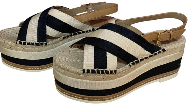 Item - Perfect Black/Cream Grossgrain Platform Espadrille Sandals Size US 7.5 Regular (M, B)