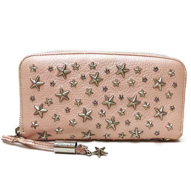 Item - Ivory / Pink / Silver Star Studs Round Zipper Purse Leather Ladies Wallet