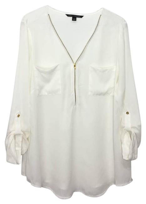 Item - Cream L Sheer Pullover Gold Zipper Front Pockets Blouse Size 12 (L)