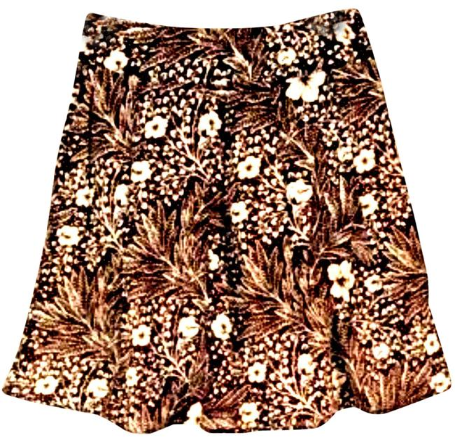 Item - Brown Womens Line Lined Floral 270 Skirt Size Petite 0 (XXS)