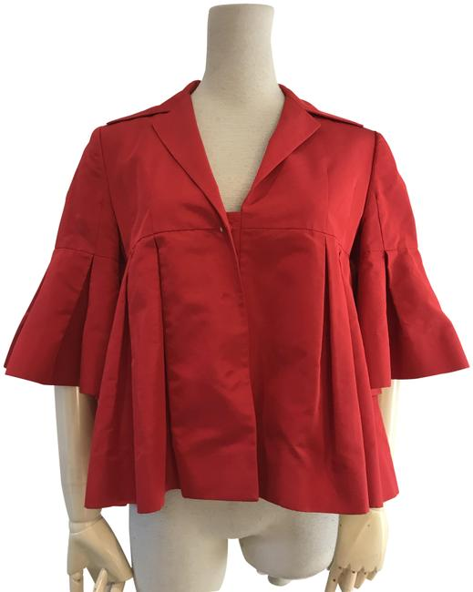 Item - Red Pleated Crop Jacket Size 6 (S)