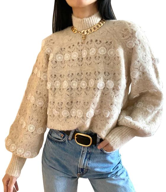 Item - White Limited Edition Alpaca Blend Sweater with Mini Pearl Embellishment and Lace Details Cardigan Size 4 (S)