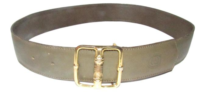 Item - Grey/Gold Bamboo Buckle Leather with Engraved Belt