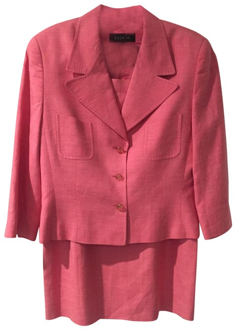 Item - Pink Crop Sleeve Silk Linen Skirt Suit Size 8 (M)