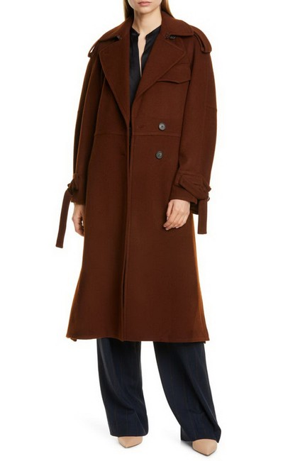 Item - Mahogany Belted Wool Blend Lined Trench Coat Size 6 (S)