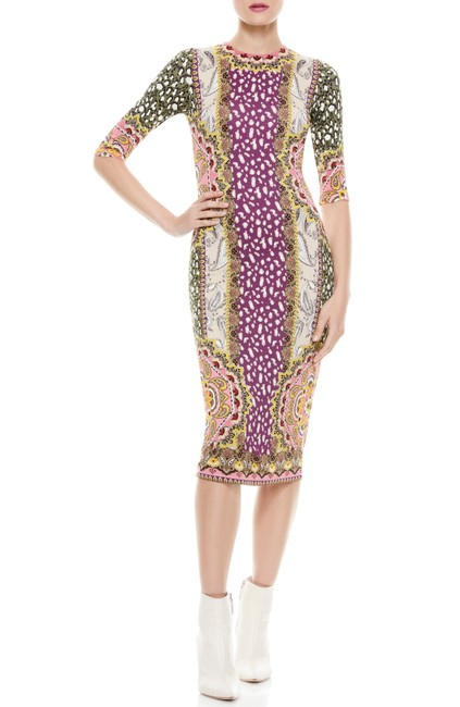 Item - Desire Multi Mock Neck Floral Print Fitted Mid-length Cocktail Dress Size 6 (S)
