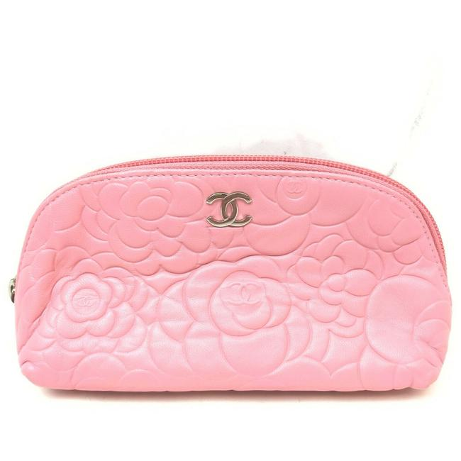 Item - Pink Pouch Embossed Camellia Make Up Case 863008 Cosmetic Bag