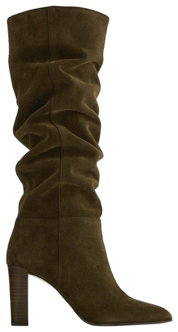 Item - Green Split Leather Slouchy Heel Olive 8/39 New Boots/Booties Size US 8 Regular (M, B)